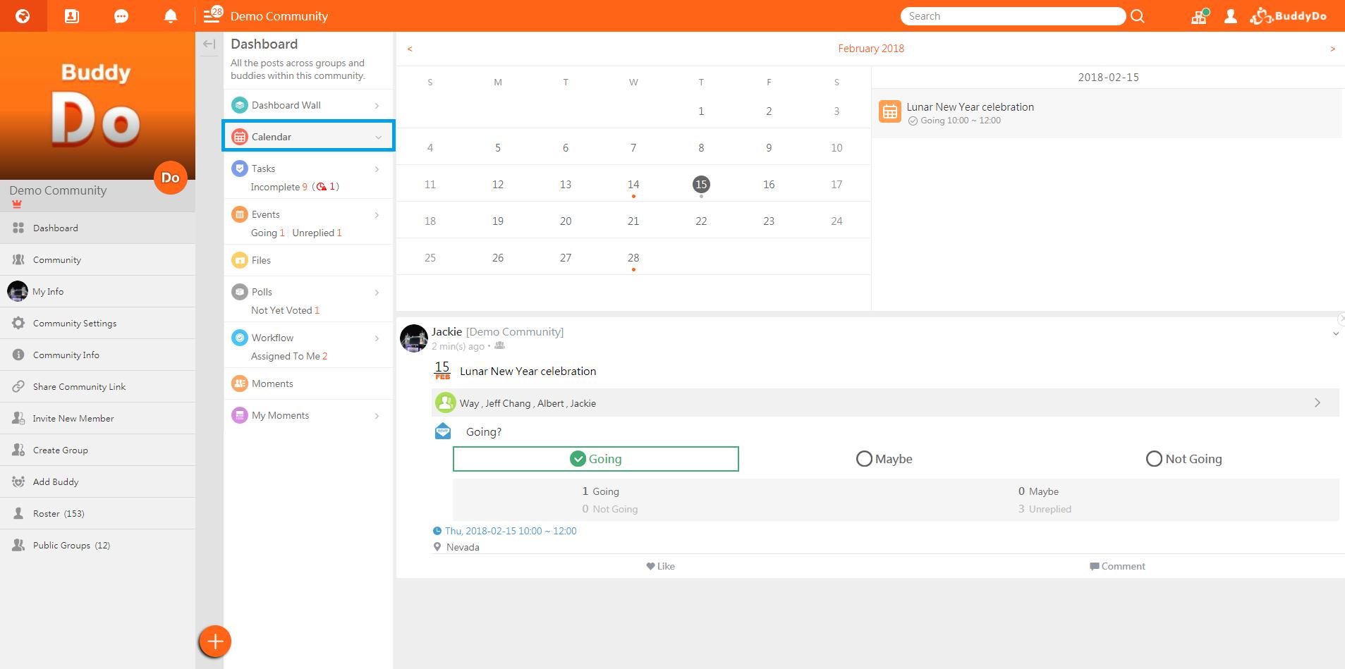 BuddyDo, web, Dashboard Calendar